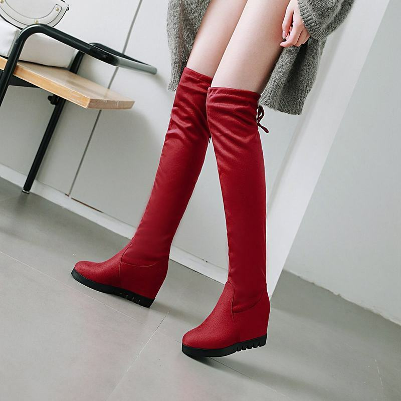 Glam Womens Elastic Faux Suede Hidden Heels Lace Up Pull On Over The Knee Boots