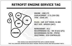 1990 lt5 5 7l corvette retrofit engine service tag belt routing image is loading 1990 lt5 5 7l corvette retrofit engine service