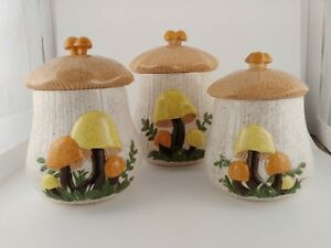 Set-of-3-Arnels-1978-Mushroom-Vintage-Cookie-Jar-034-ELM-034-Retro-Kitchen-Containers