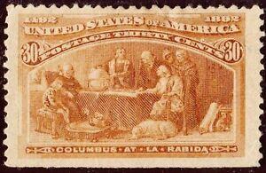 US # 239 *UNUSED H* (( JUMBO & CENTERED )) COLUMBUS AT LA RABIDA 1893 SERIES