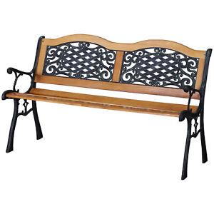 "50"" Garden Bench Outdoor Loveseat Hardwood Cast Iron"