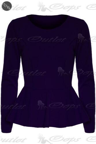 New Womens Ladies Plain Long Sleeve Flared Stretchy Peplum Frill Mini Dress Top