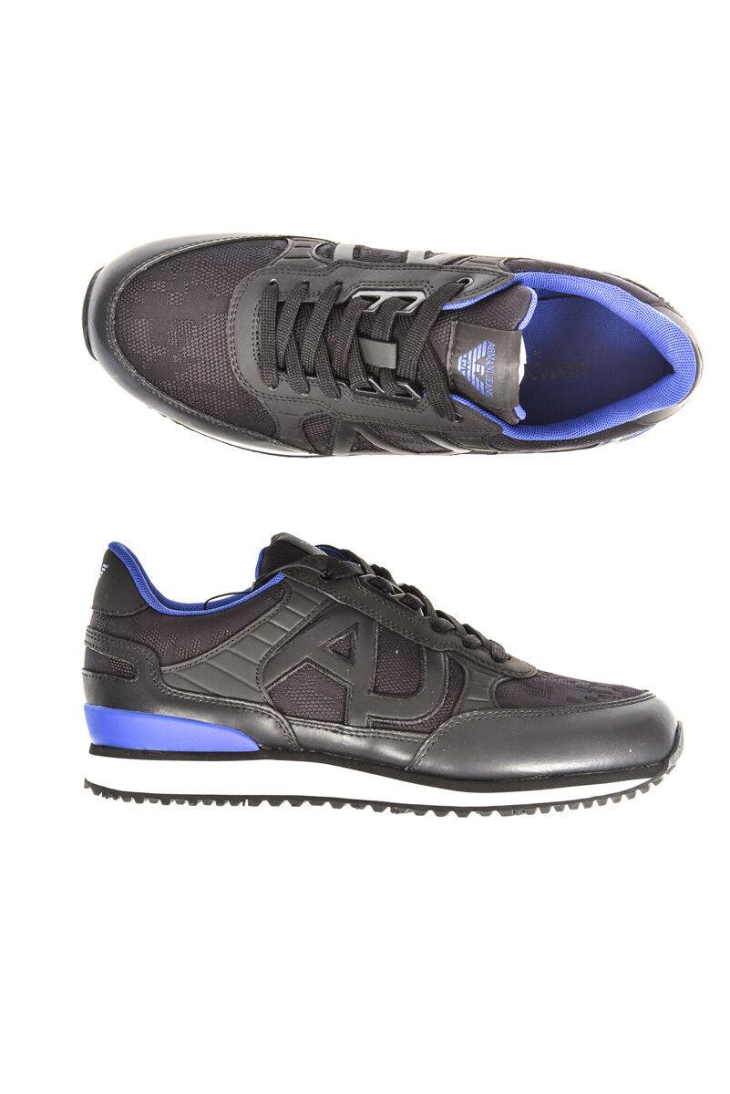 Scarpe Sneaker Armani Jeans Nero Shoes Sneaker % Pelle Uomo Nero Jeans 9350287A421-20 50e380