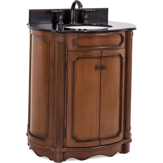 Fine 32 Elliptical Walnut Antique Bathroom Vanity With Black Granite Top Sink Download Free Architecture Designs Pushbritishbridgeorg