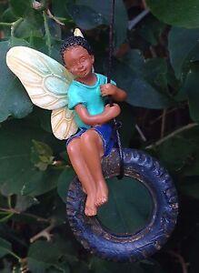 Miniature Dollhouse FAIRY GARDEN ~ Fairy Boy on Tire Swing ~ NEW