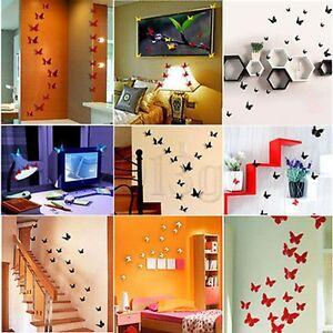 12x autocollant sticker mural 3d papillon diy d cor maison salon chambre cadeau ebay - Decoration papillon chambre ...