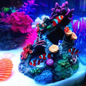 Details About Aquarium Decorations Coral Rock Vivid Mountain Cave Ornament Resin For Fish Tank