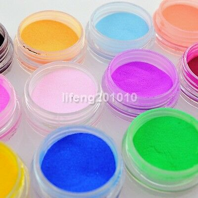 12 Colors Acrylic Nail Art Dust Powder For Nail Tips Decoration Builder Tools