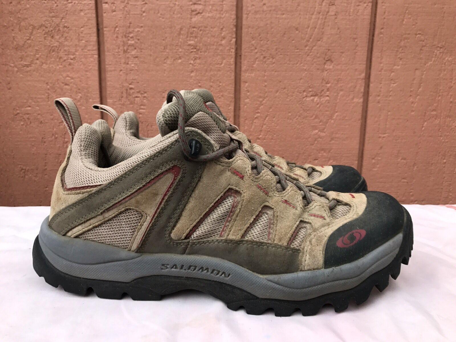 EUC Salomon Solaris Low Brown Leather Hiking Boots Women US 9  3
