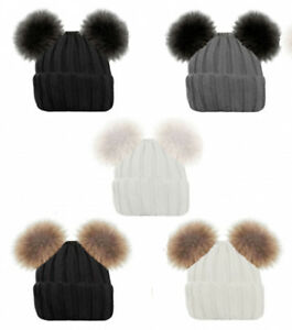 New Ladies Cable Wool Knitted Ski Beanie Winter Hats with Large Faux Fur Pom Pom