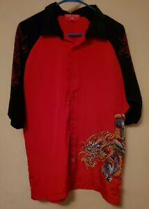 VTG-JNCO-Jeans-Red-Black-Full-Color-Dragon-Shirt-L-Bowling-Rockabilly-90s-Retro