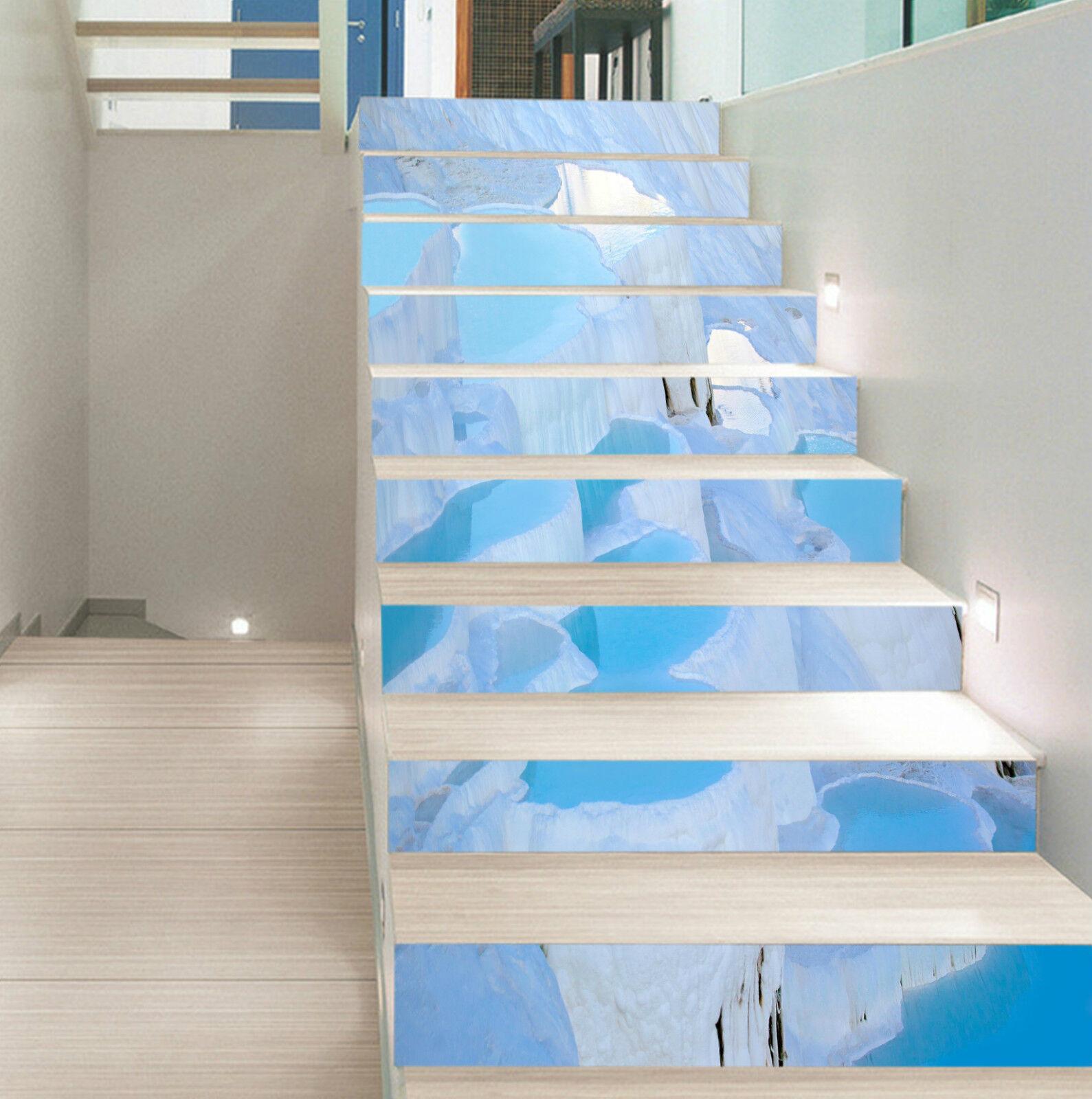 3D Eisberg Winter 8 Stair Risers Dekoration Fototapete Vinyl Aufkleber Tapete DE