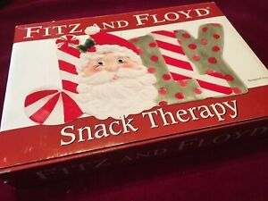 Fritz-and-Floyd-Snack-Therapy-Jolly-Santa-Christmas-Ceramic-Porcelain-Dish-Tray