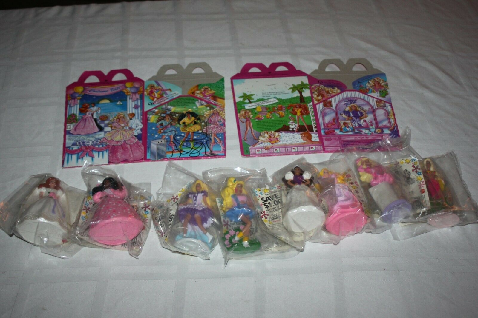 Complete Set of Vintage 1990 Barbie McDonald's Happy Meal Toys With 2 BOXES MIP