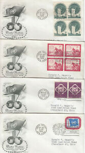 UNITED NATIONS NEW YORK FIRST REGULAR POSTAGE STAMPS 4 1951 FDC #1-#4 1¢-3¢