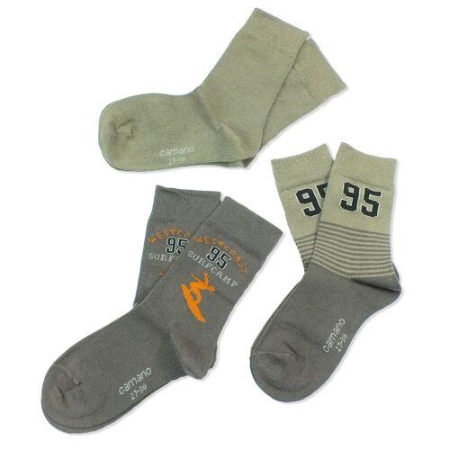 SALE 3 Paar CAMANO Kinder Jungen Socken Strümpfe 80/%Baumwolle khaki NEU Gr.27//30