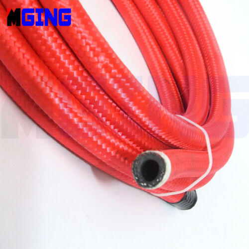 AN6 AN-6 6AN 06an Red Nylon Steel Braided Oil Fuel Line Hose End Fitting Red 3M