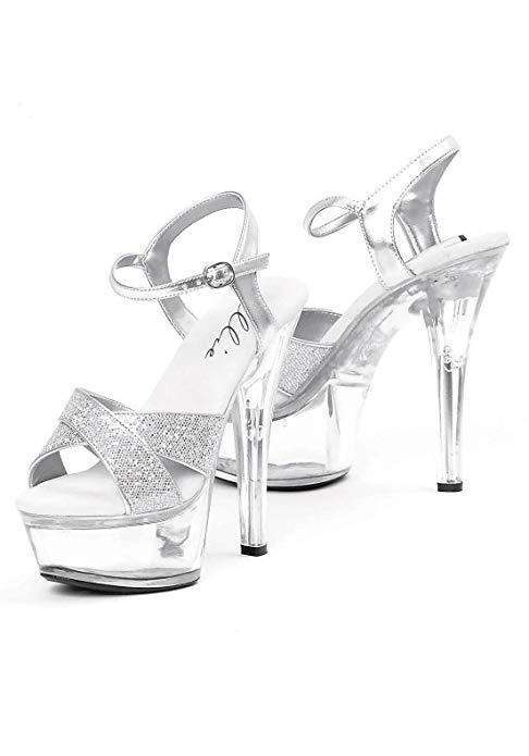 Ellie 6  Glitter Sparkle Sexy Heel Costume Platform Pumps Sandal shoes 601-JANIE