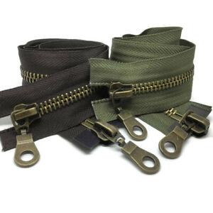 Size-8-2-Way-Antique-Brass-Zips-Open-end-Zipper-in-Brown-Black-8-AB8-2W