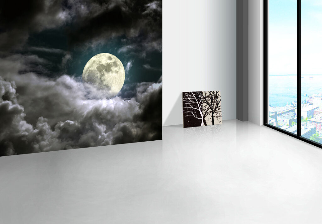 3D White clouds month 1 WallPaper Murals Wall Print Decal Wall Deco AJ WALLPAPER