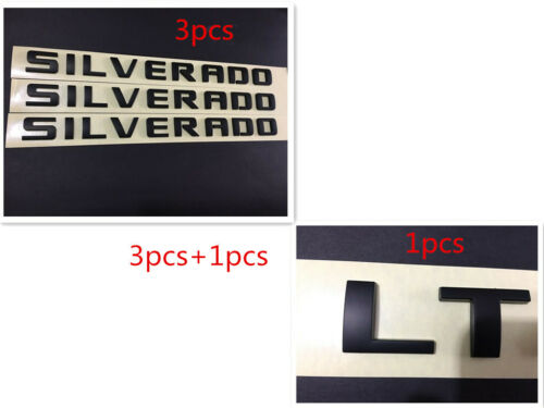 3x Matte Black SILVERADO Plus LT Emblems Badges 1500 2500HD F Chevrolet