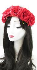 Red Rose Flower Hair Crown Sugar Skull Halloween Garland Headband Headpiece 827