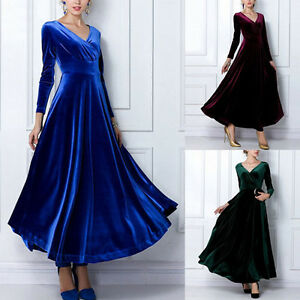 Fashion-Winter-Autumn-Dress-Women-039-s-Velvet-Long-sleeve-V-neck-Long-Maxi-Dress