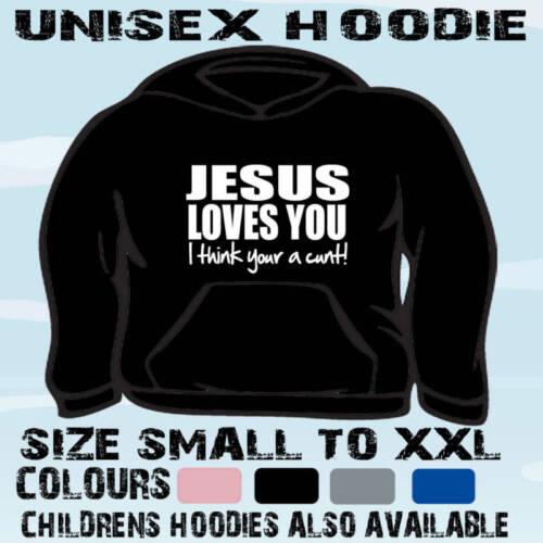 JESUS LOVES YOU FUNNY SLOGAN HOODIE HOODED TOP GIFT