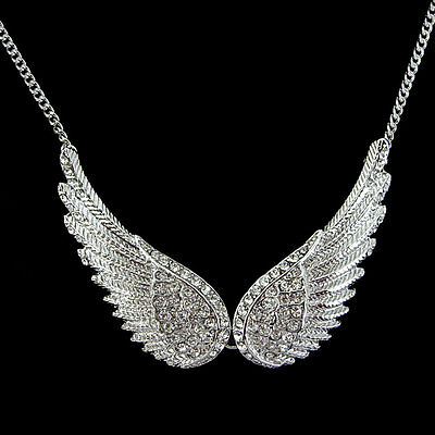 Double 5.5cm Big Angel Wing Use Austria Crystal 18K White Gold-plated Necklace