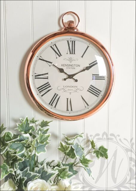 Copper Wall Clock French Vintage Pocket Watch Roman Numeral 42cm Kensington