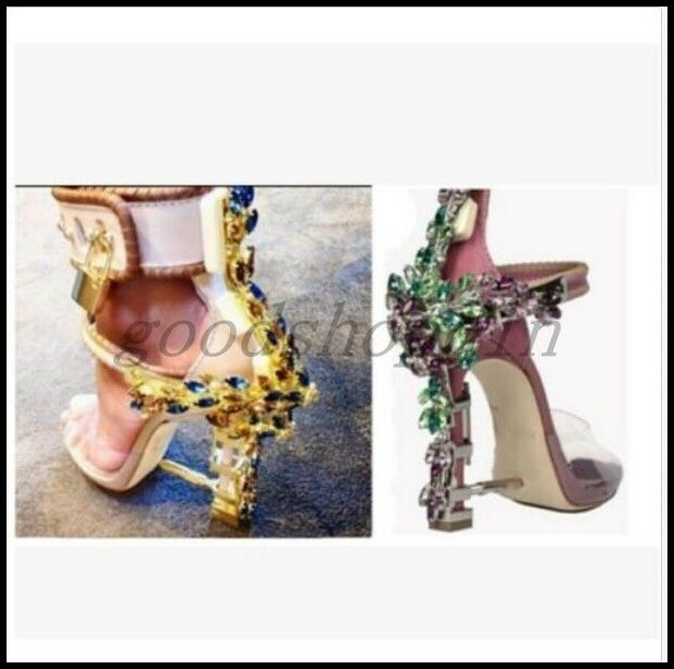 Luxury donna Leather Gladiator Rhinestone Sandals Buckle High Heels Party scarpe