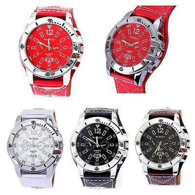 Luxury Mens Watches Black Analog Sport Quartz Date PU Leather Army Wrist Watch