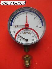 "1 Thermometer Manometer 80mm 1/2"" 0-4 bar  0-120°  radial Anschluss nach unten"