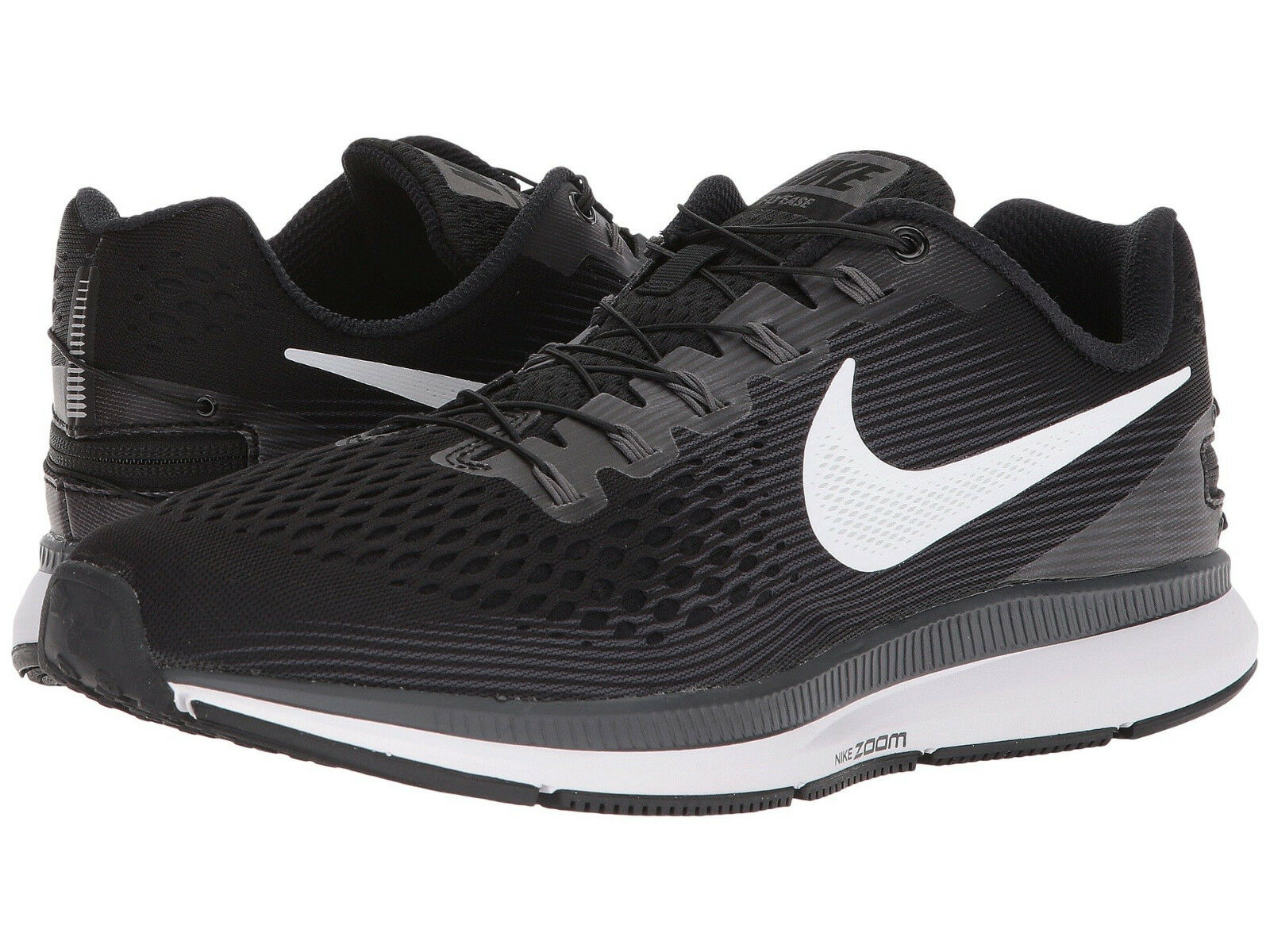 Nike Air Zoom Pegasus 34 Flyease WD, Women Sizes 8.5-9 Wide Black White Grey NEW