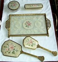 VINTAGE LACE & PETITE POINT VANITY DRESSING TABLE SET X 6 PIECES INCLUDING TRAY