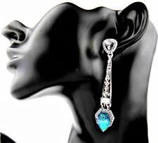 Vintage ART DECO Style Silver Turquoise Opal Crystal Paste Drop Dangle Earrings