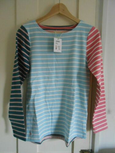 Joules Womens Harbour Jersey Top Shirt in BLUE CREAM STRIPE UK8 10 14 16 18
