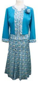Femmes Trois Pièces Jupe Costume Fleuri Bleu U K Taille 14 To 24 Mariage église-afficher Le Titre D'origine