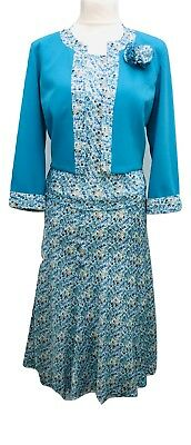 Verantwortlich Ladies Three Piece Skirt Suit Blue Floral U K Size 14 To 24 Wedding Church