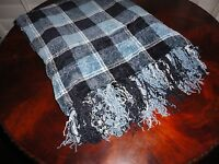 Mervyn's Blue Plaid Chenille Soft Fringed Throw Blanket 50 X 70
