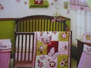 New Nojo Emily Pink Green Flower Butterly 9 Piece Crib Bedding Set
