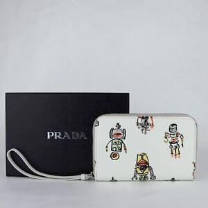 2896c40713 Prada Women White Leather Zip Around Wallet w/robot Print 1ZH030 ...