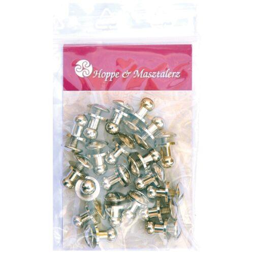 20 Knopfschraubnieten Patronentaschenverschluss 4,5mm nickel-glänzend