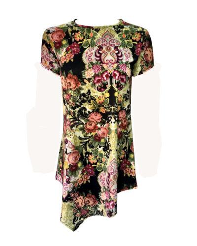 RSVH WDT Women Plain Floral Printed Top Short Cap Sleeve Tunic Diamond Style