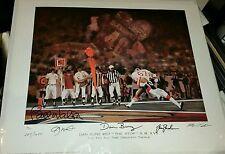 Bill Walsh, Joe Montana & Danny Bunz signed The Stop litho by Ben Teeter JSA COA