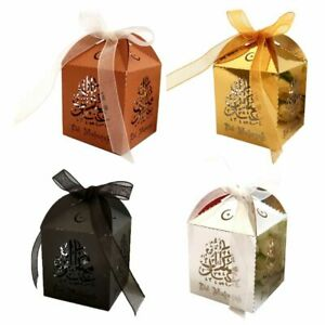 Details About 25pcs Happy Eid Mubarak Paper Gift Box Ramadan Decorations Islamic Party Boxes