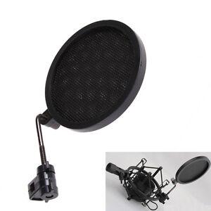 Mic-Vent-ecran-Masque-col-de-cygne-Recule-pop-filtre-pour-Microphone-Shock-Mount-Noir