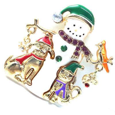 snowflake and heart brooch bird puppy Festive enamel snowman Xmas gift