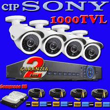 KIT SORVEGLIANZA DVR 4 Canali + 4 TELECAMERE Sony 1000 +HD + 4 Cavi + 4 Alim.
