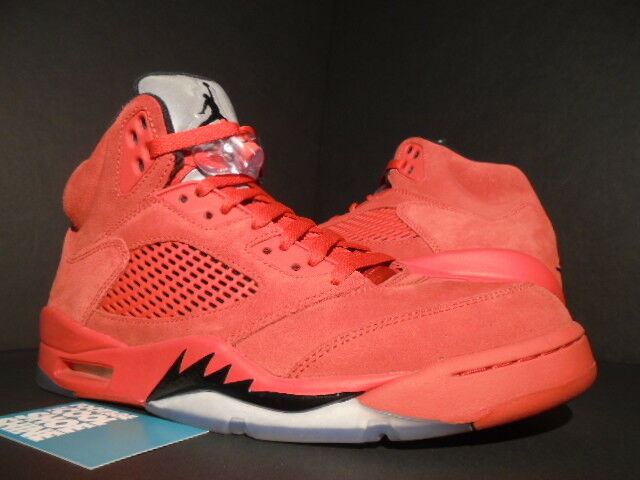 f425767db34154 Nike Air Jordan 5 Retro Red Suede Flight Suit Men s 9.5 DS 3m Silver 136027  602 for sale online